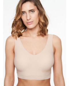 CHANTELLE SOFT STRETCH PADDED V-NECK BRA TOP IN NUDE