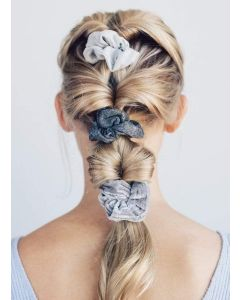 KITSCH VELVET SCRUNCHIES IN BLACK AND GREY