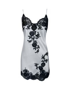 MARJOLAINE GEMMA CHEMISE W/LACE IN IVORY AND BLACK