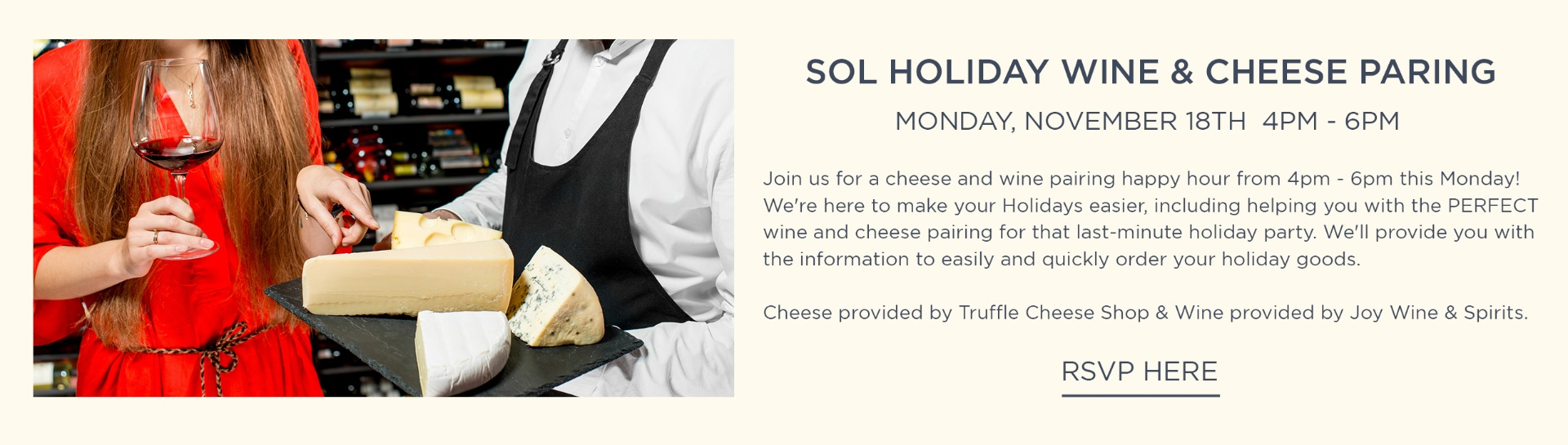 SOL Holiday Wine and Cheese Pairing