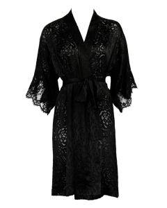 LISE CHARMEL DRESSING FLORAL SHORT ROBE IN BLACK