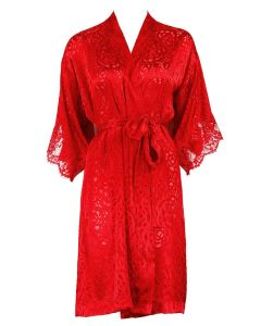 LISE CHARMEL DRESSING FLORAL SHORT ROBE IN RED